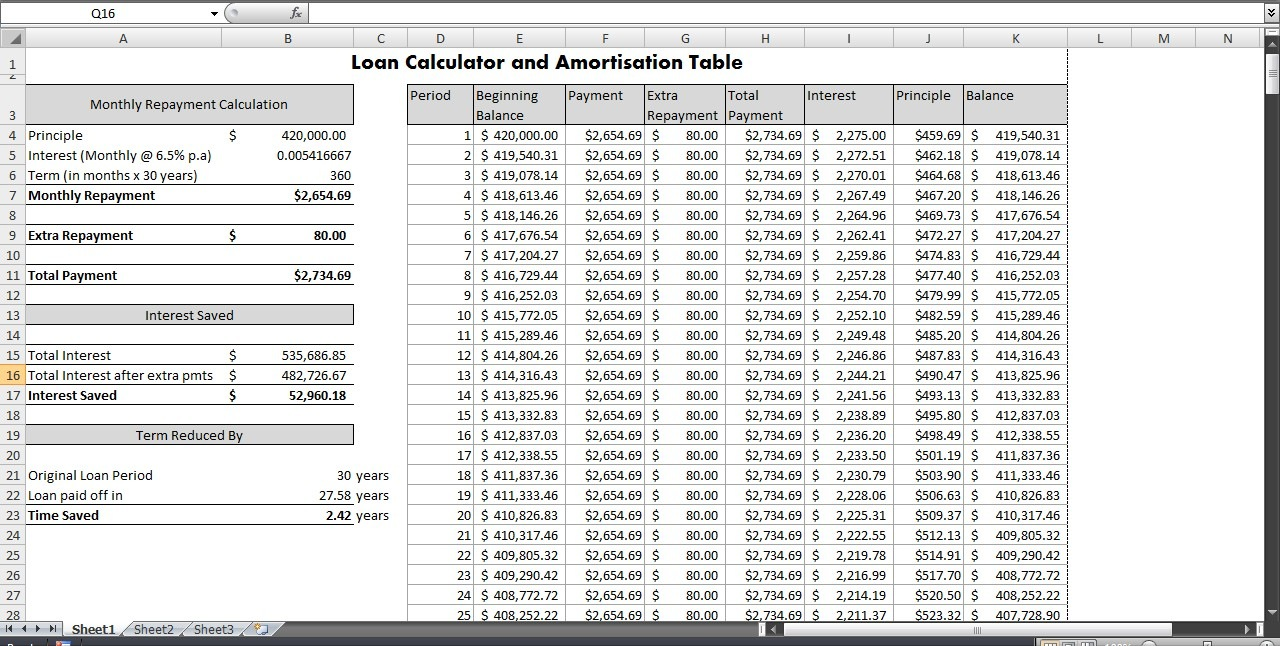 mortgage calculator on excel