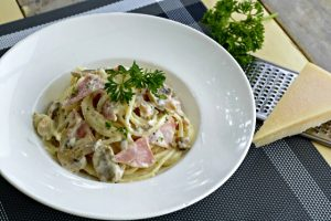 Mushroom Carbonara with Bacon