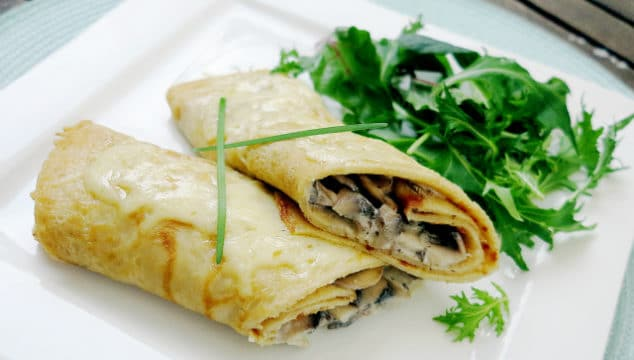 crepes with creamy mushroom and rosemary filling
