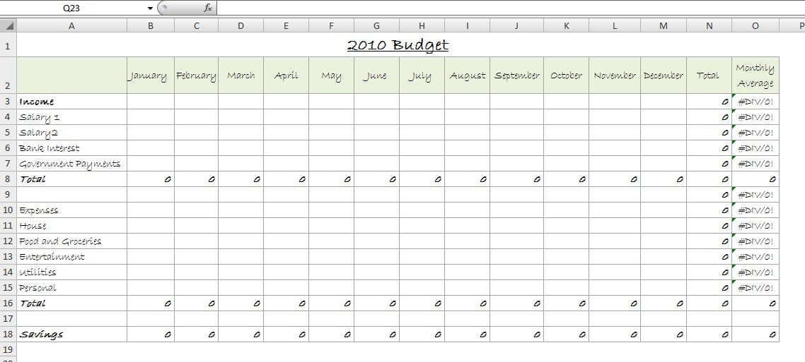 create a simple budget using excel