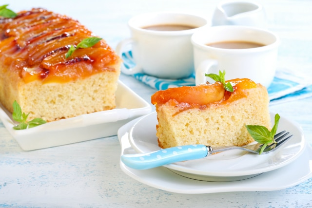 Enjoy a Frugal High Tea with this Caramel Peach Upside Down Cake