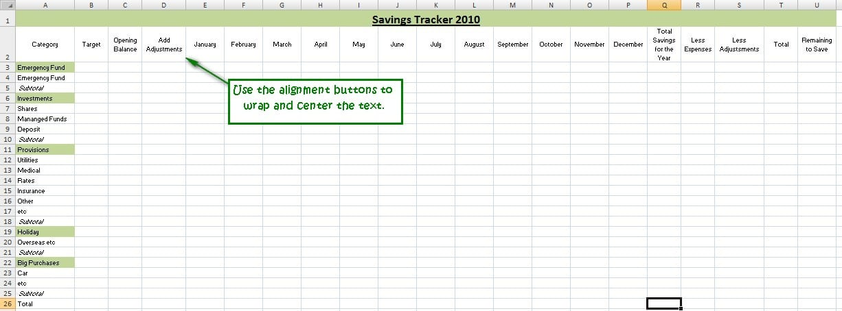 How To Track Your Savings With Spreadsheets - An Excel Tutorial