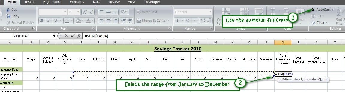 track your savings using excel