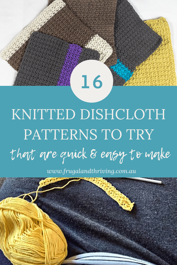 A collection of knitted dishcloth patterns for making your own dishcloths. Lots of different patterns for creativity. Some crochet dishcloth patterns too. #frugalcleaning #frugalcrafting #knitteddishcloths