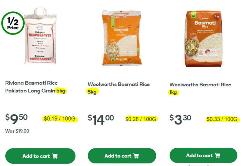 unit cost comparison sales prices