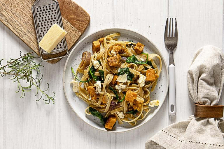 Roast Pumpkin Feta Pasta With Caramelised Onion and Wilted Spinach
