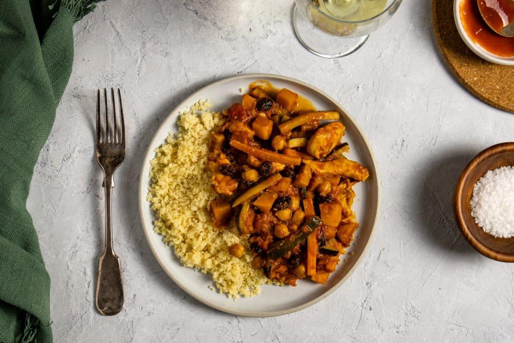 Moroccan inspired chicken and vegetable stew with couscous