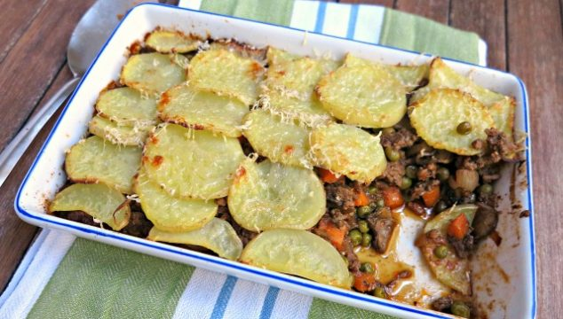 Cottage Pie topped with a single potato. Feed the family, use up leftovers.