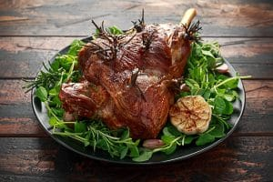 traditional lamb roast with rosemary and garlic
