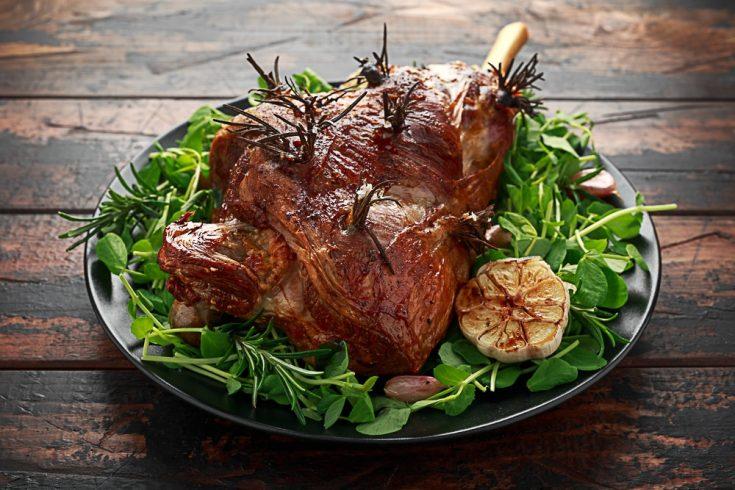 traditional lamb roast with rosemary and garlic