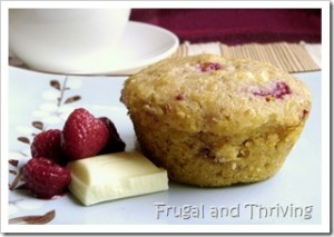 raspberry, oat and white chocolate muffins
