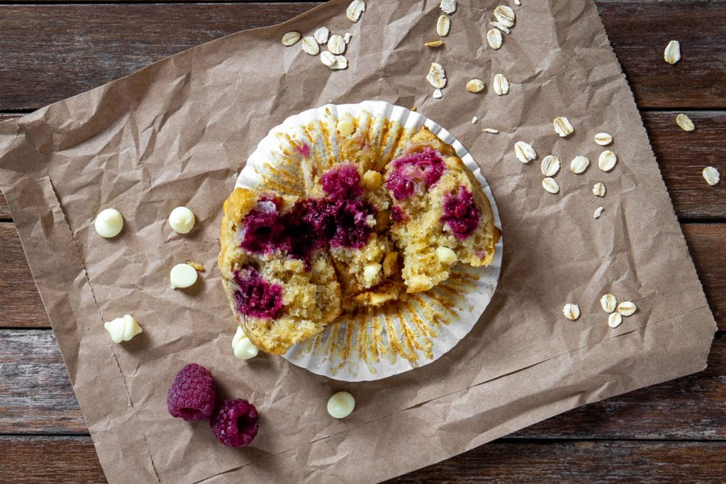 raspberry, oat and white chocolate muffin
