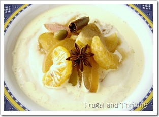 Semolina porridge with spiced winter fruit compote