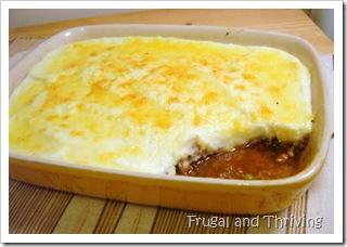 kangaroo cottage pie topped with cauliflower puree