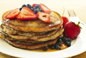 healthy wholemeal pancakes with seasonal fruit