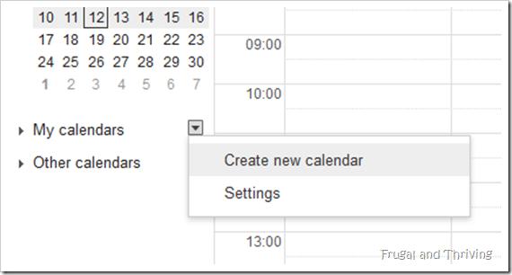 Create New Calendar