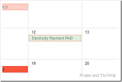 Bill paid calendar view