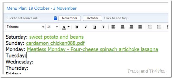 linked menu plan