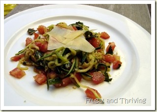 1-tomato and garlic zucchini noodles