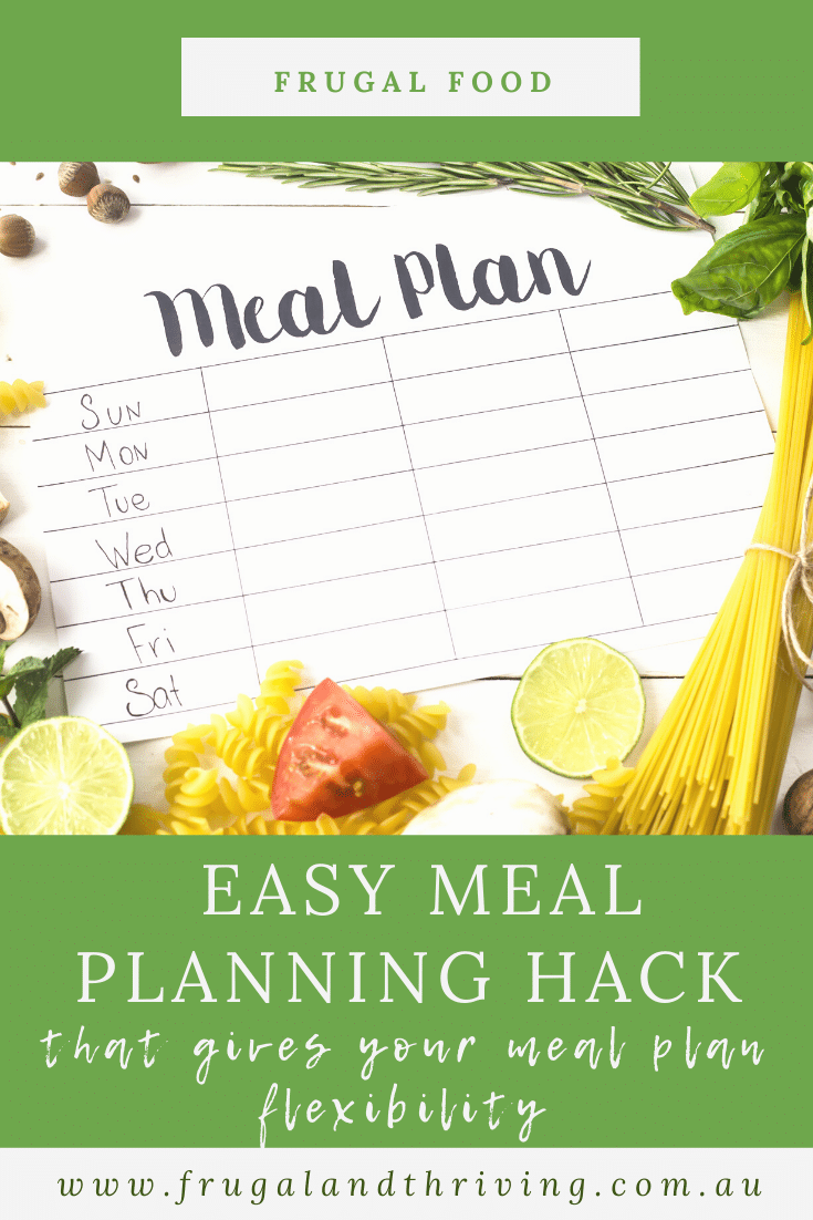 This easy meal planning hack gives your meal plans flexibility while still making it super quick and easy to plan a week\'s worth of meals. #mealplanning