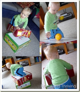 Playing with boxes. rainy day toddler ideas, Frugal and Thriving