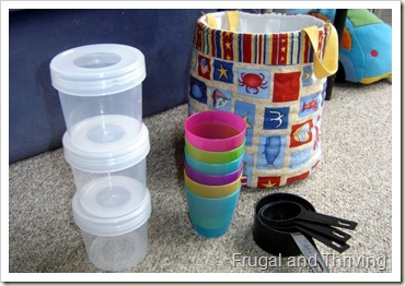 Stacking common household items, rainy day toddler ideas, Frugal and Thriving