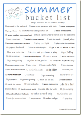 summer bucket list–a printable list of frugal activities for the summer holidays
