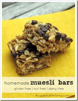 homemade muesli bars, gluten free, nut free, dairy free