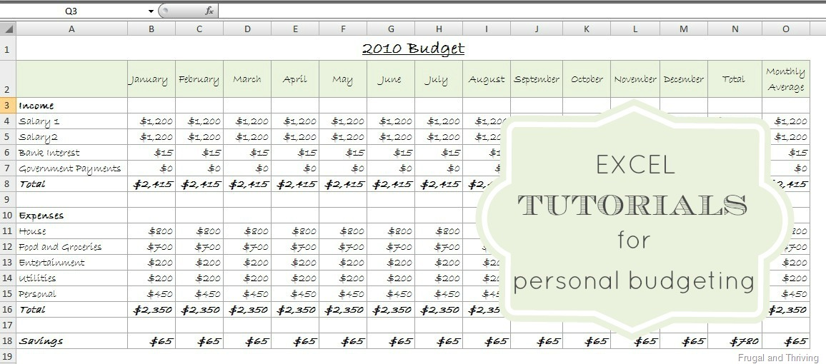 personal budgeting excel