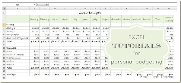 Excel Tutorials for Personal Budgeting