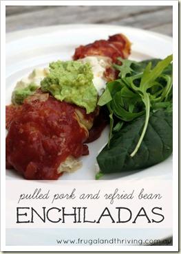 Slow Cooker Pork and Refried Bean Enchiladas