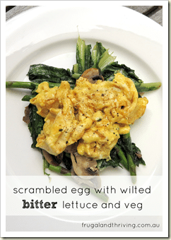 Scrambled eggs on wilted bitter lettuce and vegetables portrait