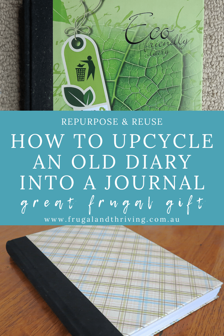 What do you do with last year\'s diary? Here\'s a tutorial to upcycle it into an attractive blank journal. Make a great repurposed gift. #repurposing #ecogift