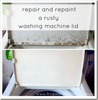 repairing and repainting a rusted metal washing machine lid