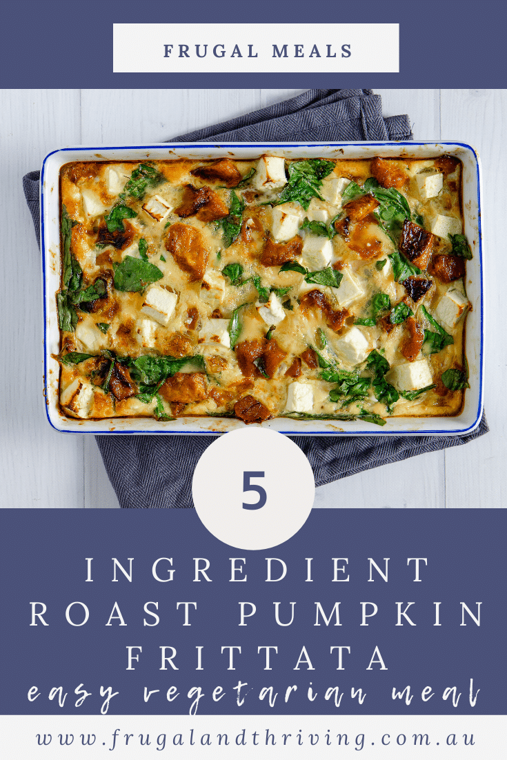 Simple $5 x5 Ingredient Roast Pumpkin Feta Frittata