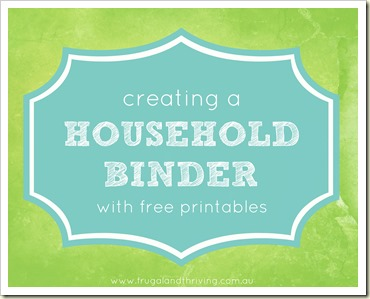 creating a household binder with free printables