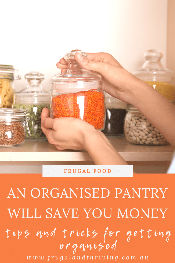 Save time and money with these tips for an organised pantry. Includes tips for organising deep shelves and a corner pantry. #pantryogranisation #storage