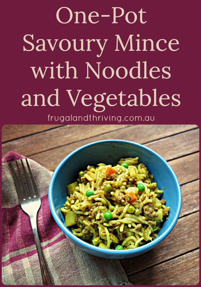 one-pot savoury mince with noodles and vegetables