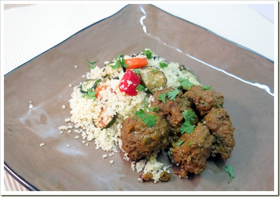 Morrocan meatballs with lemon sauce and roast vegetable cous couse