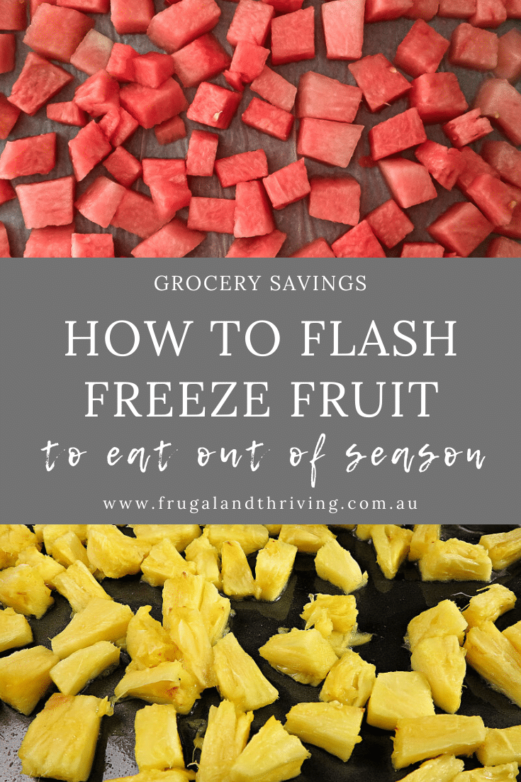 Flash freeze fruit is to quickly and easily preserve it when it\'s at it\'s cheapest. Enjoy local summer fruit in winter by freezing for later. #grocerysavings