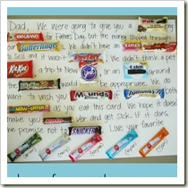 Candy bar letters from Bits of Everything | Frugal and Thriving Round Up