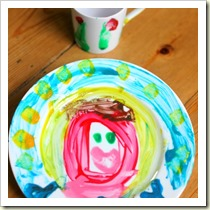 Painted plate and mug from The Imagination Tree | Frugal and Thriving Round Up