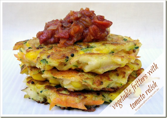 Vegetable fritters with tomato relish
