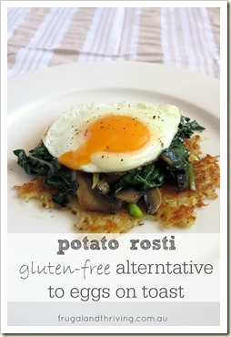 fried egg with potato rosti and silverbeet