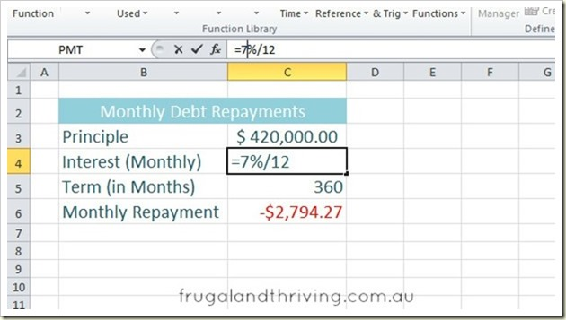 Calculate Loan Repayments in Excel using the PMT function – Loan Interest Calculator