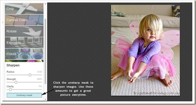 how to sharpen images in PickMonkey