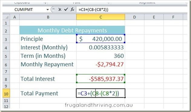 6. Calculating debt repayment with PMT