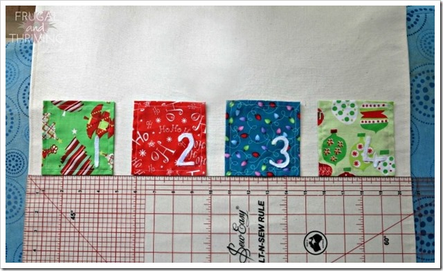 align pockets on handsewn advent calendar