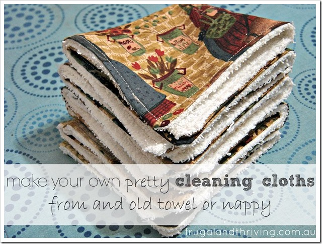 homemade cleaning cloths from an old towel