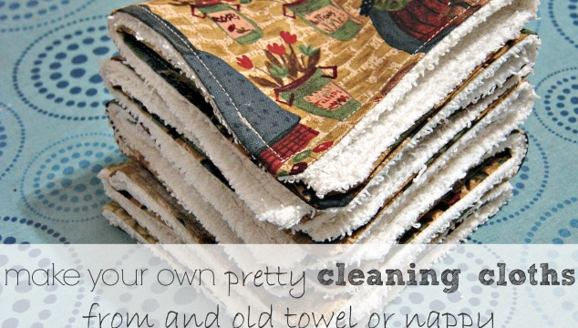 Reusable Homemade Cleaning Cloths from an Old Towel